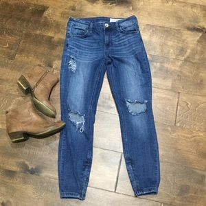 PISTOLA distressed skinny jeans size 27 zip ankle